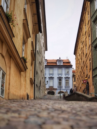 A different perspective of the cobblestone streets